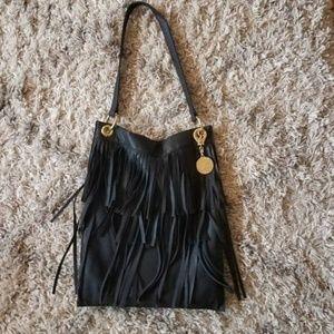 Stella & Jamie Black Leather Fringe Tote Handbag
